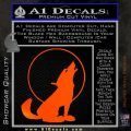 Wolf Howling At Moon Decal Sticker Orange Emblem 120x120