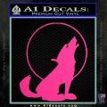 Wolf Howling At Moon Decal Sticker Pink Hot Vinyl 120x120