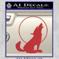 Wolf Howling At Moon Decal Sticker Red 120x120