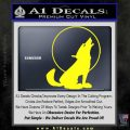 Wolf Howling At Moon Decal Sticker Yellow Laptop 120x120