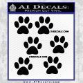 6 Paw Print Decal Stickers Black Vinyl 120x120