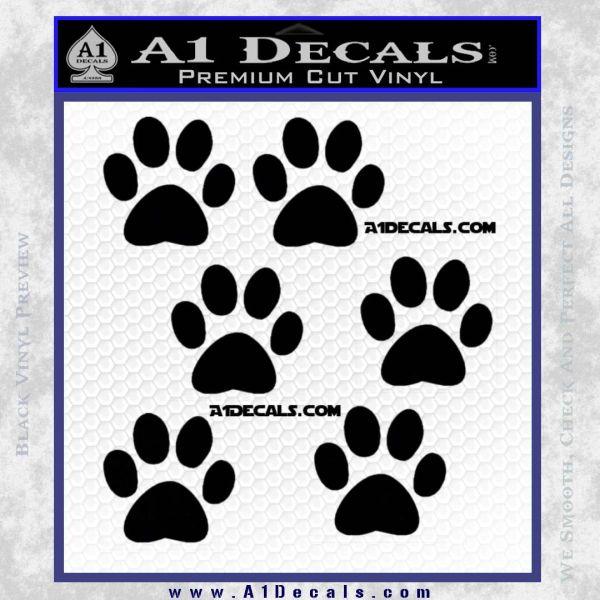 6 paw print decal stickers black vinyl