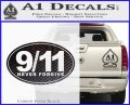 9 11 Never Forgive Decal Sticker Oval Carbon FIber Black Vinyl 120x97
