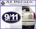 9 11 Never Forgive Decal Sticker Oval PurpleEmblem Logo 120x97