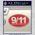 9 11 Never Forgive Decal Sticker Oval Red 120x120