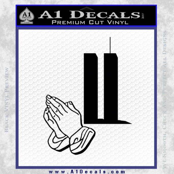9 11 Prayer Hands Decal Sticker Black Vinyl