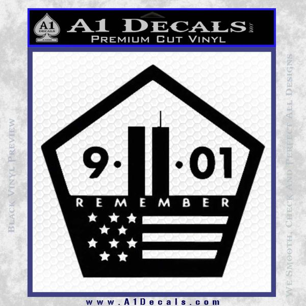 911 Remember Flag Pentagon Decal Sticker Black Vinyl