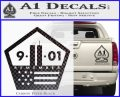 911 Remember Flag Pentagon Decal Sticker Carbon FIber Black Vinyl 120x97