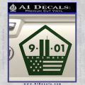 911 Remember Flag Pentagon Decal Sticker Dark Green Vinyl 120x120