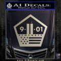 911 Remember Flag Pentagon Decal Sticker Metallic Silver Emblem 120x120