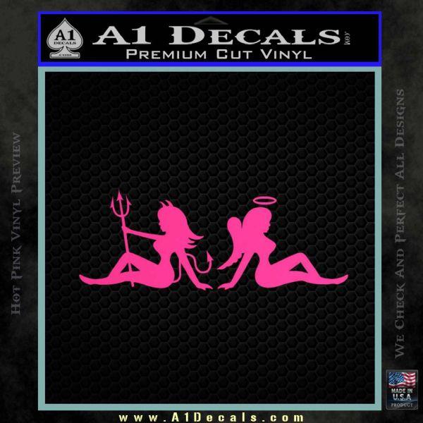 Angel Devil Girls Decal Sticker Wide Pink Hot Vinyl1