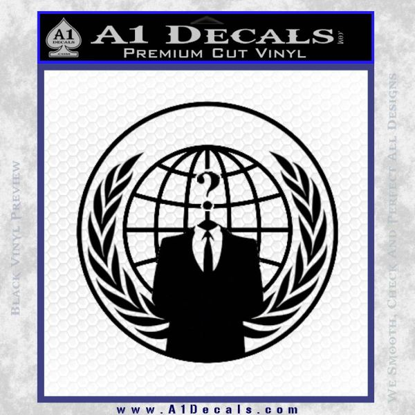 Anonymous Globe Decal Sticker Black Vinyl