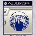 Anonymous Globe Decal Sticker Blue Vinyl 120x120