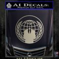Anonymous Globe Decal Sticker Metallic Silver Emblem 120x120