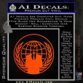 Anonymous Globe Decal Sticker Orange Emblem 120x120