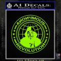 Anonymous Revolution Circle Guy Fawkes Decal Sticker Lime Green Vinyl 120x120