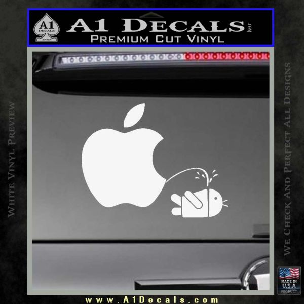 Android Pissing On Apple Funny Vinyl Decal Car Sticker Window bumper laptop 6
