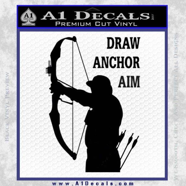 Archery Decal Sticker Draw Anchor Aim Black Vinyl
