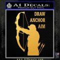 Archery Decal Sticker Draw Anchor Aim Gold Vinyl 120x120