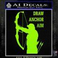 Archery Decal Sticker Draw Anchor Aim Lime Green Vinyl 120x120