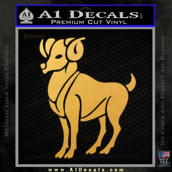 Aries Ram Zodiac Decal Sticker Gold Vinyl