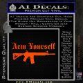 Arm Yourself 2nd Amendment Decal Sticker Orange Emblem 120x120