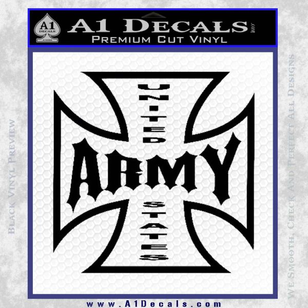 Army Iron Cross Decal Sticker Black Vinyl