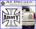 Army Iron Cross Decal Sticker Carbon FIber Black Vinyl 120x97