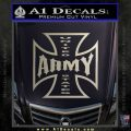 Army Iron Cross Decal Sticker Metallic Silver Emblem 120x120