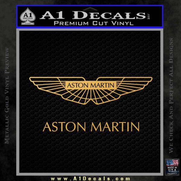 Aston Martin Logo Decal Sticker Gold Vinyl