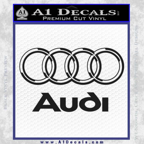 Audi 3D Rings Text Decal Sticker Black Vinyl