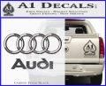 Audi 3D Rings Text Decal Sticker Carbon FIber Black Vinyl 120x97
