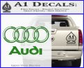 Audi 3D Rings Text Decal Sticker Green Vinyl Logo 120x97