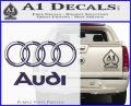 Audi 3D Rings Text Decal Sticker PurpleEmblem Logo 120x97