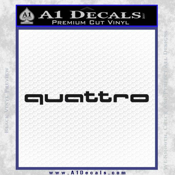 Audi Quattro Decal Sticker 2 Pack Black Vinyl