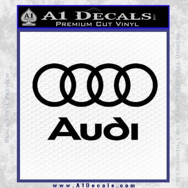 Audi Rings Text Decal Sticker Black Vinyl