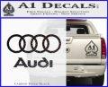 Audi Rings Text Decal Sticker Carbon FIber Black Vinyl 120x97