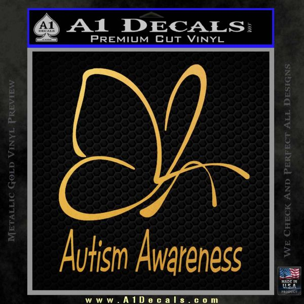Autism Awareness Butterfly Cause Decal Sticker Gold Vinyl