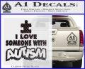 Autism Awareness Decal Sticker Puzzle Carbon FIber Black Vinyl 120x97