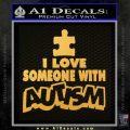 Autism Awareness Decal Sticker Puzzle Gold Vinyl 120x120