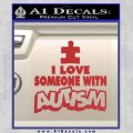 Autism Awareness Decal Sticker Puzzle Red 120x120