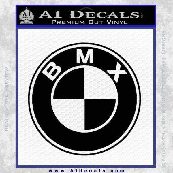 Bmx bike decal sticker bmw parody black vinyl