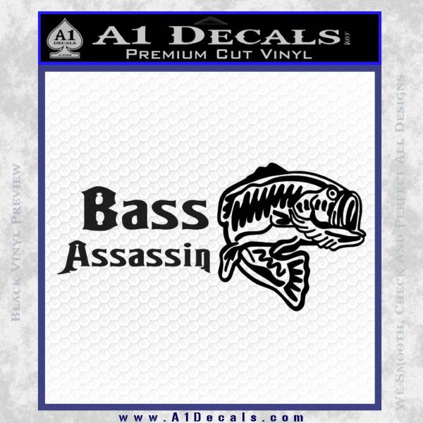 Bass Assassin Fishing Decal Sticker Black Vinyl
