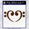 Bass Clef Heart Decal Sticker BROWN Vinyl 120x120