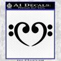 Bass Clef Heart Decal Sticker Black Vinyl 120x120