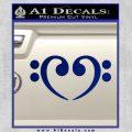 Bass Clef Heart Decal Sticker Blue Vinyl 120x120