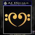 Bass Clef Heart Decal Sticker Gold Vinyl 120x120