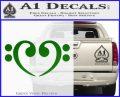 Bass Clef Heart Decal Sticker Green Vinyl Logo 120x97