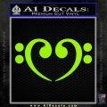 Bass Clef Heart Decal Sticker Lime Green Vinyl 120x120