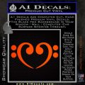 Bass Clef Heart Decal Sticker Orange Emblem 120x120